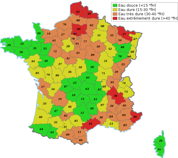 Carte de France du calcaire